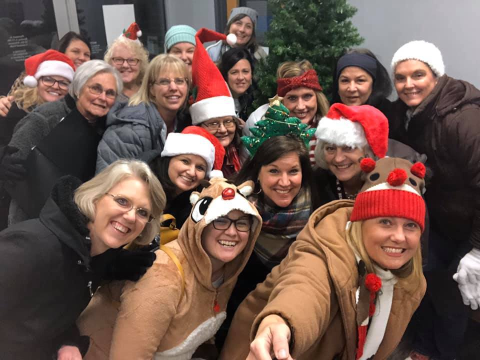 Ringgold teacher having fun caroling for Christmas.